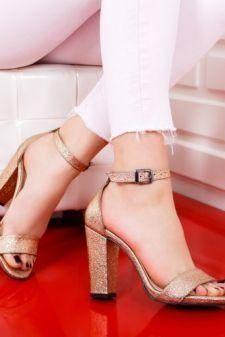 Sandale Codila aurii cu toc gros