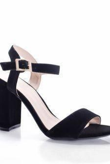 Sandale Comedi negre cu toc gros