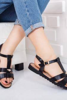 Sandale Covila negre cu talpa joasa