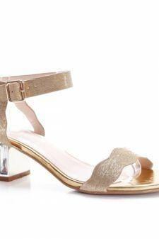 Sandale Dacali aurii cu toc gros