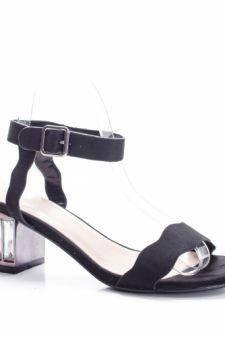 Sandale Dacali negre cu toc gros