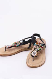 Sandale Dama Cu Aplicatii Hippie Negre