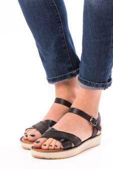 Sandale Dama Cu Bareta Rhinestones Negru