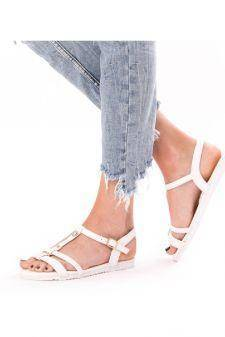 Sandale Dama Cu Barete Si Strasuri Lisa Alb
