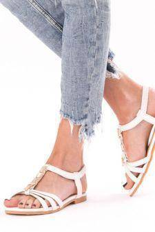 Sandale Dama Cu Barete Si Strasuri Shiny Alb