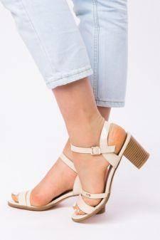 Sandale Dama Cu Toc Mic Sarah Bej