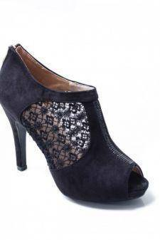 Sandale Jaisa negre cu toc