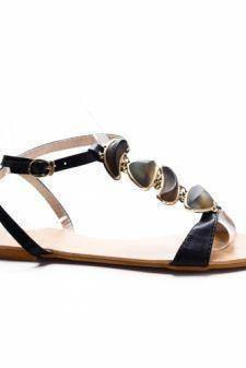 Sandale Ovidaco negre cu talpa joasa