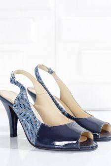 Sandale Piele Alesin albastre cu toc