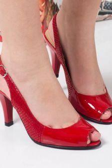 Sandale Piele Alesin rosii cu toc