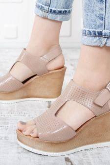 Sandale Piele Asibi bej cu platforma