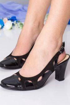 Sandale Piele Asirona negre cu toc gros