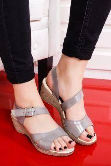 Sandale Piele Badei argintii cu platforma
