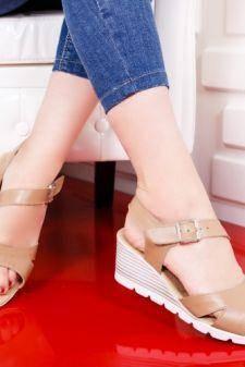 Sandale Piele Badei bej cu platforma