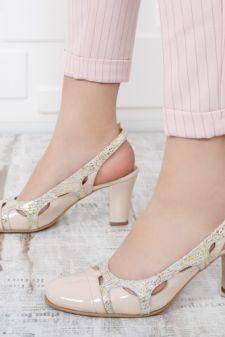 Sandale Piele Bisun bej