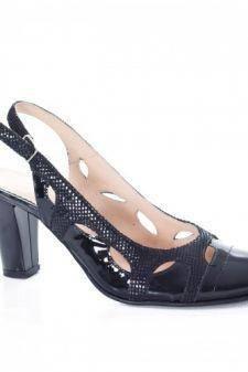Sandale Piele Bisun negre cu toc