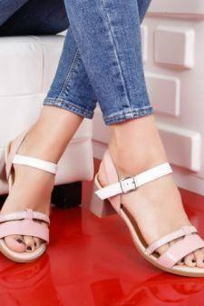Sandale Piele Burabi roz pal cu toc gros