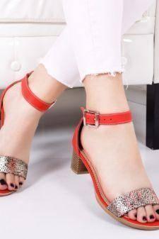 Sandale Piele Cedila rosii cu toc gros