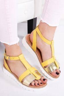 Sandale Piele Faloni galbene