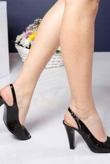 Sandale Piele Ferajin negre cu toc gros
