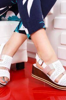 Sandale Piele Flami albe cu platforma