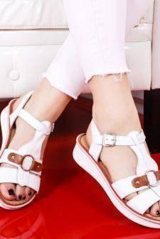 Sandale Piele Lozin albe cu talpa joasa