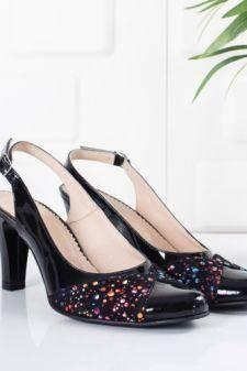 Sandale Piele Malebi negre cu toc gros