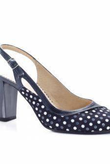 Sandale Piele Marisas bleumarin cu buline si toc gros