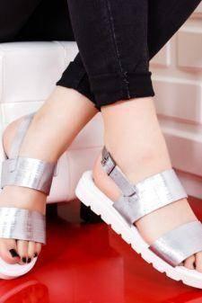 Sandale Piele Nasogi argintii cu talpa joasa