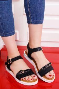 Sandale Semni negre cu talpa joasa