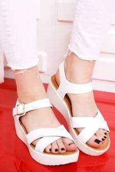Sandale Sheila albe cu platforma