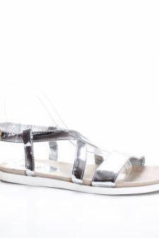 Sandale Telisis argintii cu talpa joasa