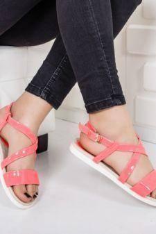 Sandale Telisis roz cu talpa joasa
