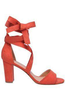 Sandale Top Secret portocalii din piele ecologica cu toc gros
