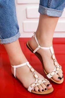 Sandale Vasinio albe cu talpa joasa