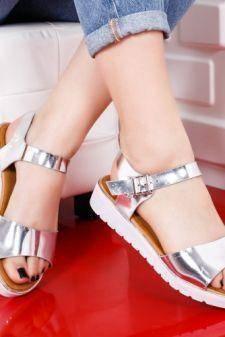 Sandale Viret argintii cu talpa joasa