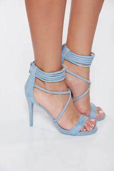 Sandale albastre deschis elegante cu toc inalt din piele intoarsa ecologica cu barete subtiri