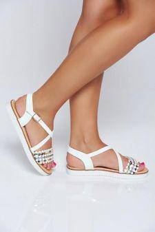 Sandale albe casual cu talpa joasa cu aplicatii cu sclipici