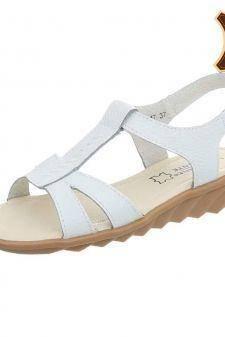 Sandale albe din piele naturala cu scai