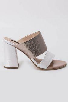 Sandale albe elegante din piele naturala cu toc gros