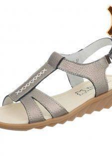 Sandale argintiu inchis din piele naturala cu scai