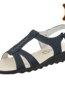 Sandale bleumarin din piele naturala cu scai