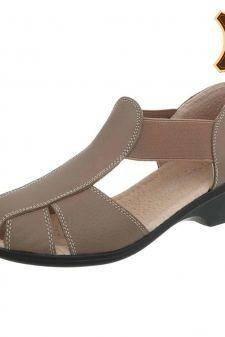 Sandale casual din piele naturala bej inchis