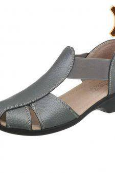 Sandale casual din piele naturala gri inchis