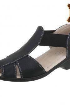 Sandale casual din piele naturala neagra