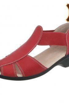 Sandale casual din piele naturala rosie