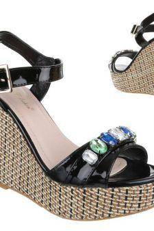 Sandale cu aspect lacuit