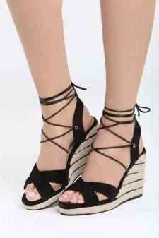 Sandale cu platforma Alicja Negre