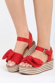 Sandale cu platforma Aneas Rosii