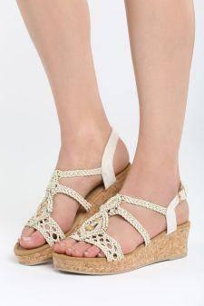 Sandale cu platforma Arcana Bej